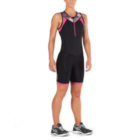 2XU Active Combinaison de triathlon Femme, black/retro pink peackock